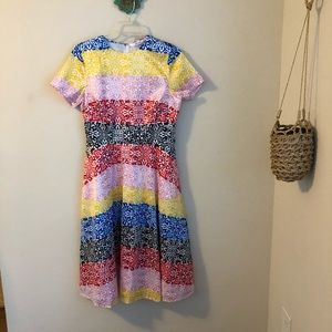 Eshakti • colorblock stamp print midi dress